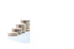 Högar av euromynt Arkivfoto