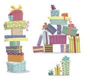 Högar av gåvor Klotterhögar av gåvaaskar stock illustrationer