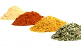 Högar av kryddor på en vit bakgrund Fotografering för Bildbyråer
