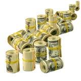Högar av pengarisolaten Fotografering för Bildbyråer