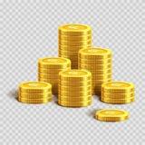 Högar av skinande guld- mynt med dollartecknet royaltyfri illustrationer