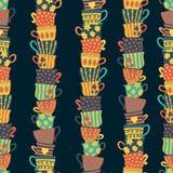 Högar av staplade färgrika koppar på sömlös modell för mörk bakgrund Handen drog vektorillustrationen av te rånar För meny kafé, vektor illustrationer