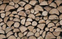 Högar av trä i skogen Polen Royaltyfri Bild