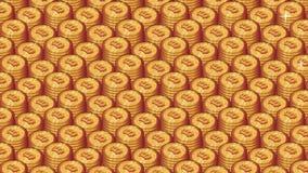 Högen av bitcoin myntar sömlös animering i repetitionbakgrund arkivfilmer