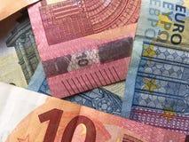 Högen av euro stänger sig upp Royaltyfria Bilder