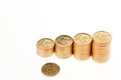 Högen av euroen myntar Fotografering för Bildbyråer