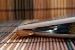 Högen av euromynt i spegel reflekterar plånboklögner på träbambutabellen som den breda vinkelbakgrundsvalören är 1 eurocent Arkivbild