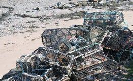 Högen av humret av fiskkorgen lägger in på stranden Royaltyfri Foto