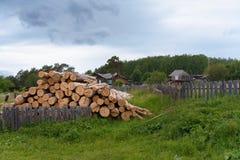Högen av loggar in bygården på en sommarafton i Ryssland royaltyfria foton