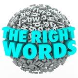 Höger boll för ordbokstavssfär som finner det bästa meddelandet Communicatio Royaltyfria Foton