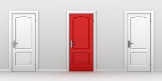 Höger choice rött dörrbegrepp stock illustrationer