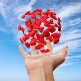 Höger manlig hand som rymmer röda fragment ovanför blå himmel Arkivbilder