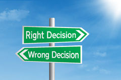 Högert beslut vs felt beslut arkivfoto