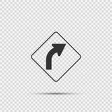 Högert tecken för kurva framåt på genomskinlig bakgrund stock illustrationer
