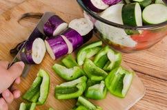 Högg av aubergine, spanska peppar på skärbräda Fotografering för Bildbyråer