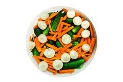 Högg av grönsaker i bakgrund Arkivbild