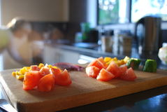 Högg av salladgrönsaker Arkivfoto