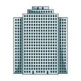 Höghus skyskrapa, enkel symbol för fastighetsmäklare i rengöringsduk för illustration för materiel för symbol för tecknad filmsti royaltyfri illustrationer
