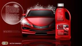 Högkvalitativ åtlöje för biltvättproduktpackadge upp annonser Flaska av carwashtvål realistisk medelmall för vektor 3d Royaltyfri Fotografi