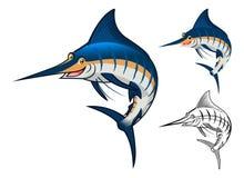 Högkvalitativ blå Marlin Cartoon Character Include Flat design och linje Art Version Arkivfoto