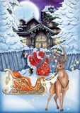 Högkvalitativ illustration av julnatten för jul och nya yer-vykort, räkning, bakgrund, tapet stock illustrationer