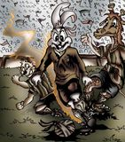 Högkvalitativ illustration av kaninfotbollsspelaren, räkning, bakgrund, tapet royaltyfri illustrationer