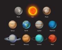 Högkvalitativ illustration för vektor för stjärna för omlopp för jordklot för vetenskap för jord för astronomi för solsystemplane