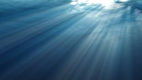 Högkvalitativ kretsa animering av havvågor från realistiskt undervattens- Ljusa strålar som igenom skiner stock illustrationer