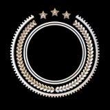 Högkvalitativ metallemblemmall med lagerkransen och stjärnor, Royaltyfri Illustrationer