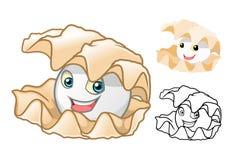 Högkvalitativ pärlemorfärg Shell Cartoon Character Include Flat design och linje Art Version vektor illustrationer