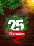 Högkvalitativ realistisk affisch för jul Realistisk filial av prydligt och ljust solljus mot de mörka träplankorna Röd ri Arkivbilder