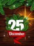 Högkvalitativ realistisk affisch för jul Realistisk gran förgrena sig på bakgrunden av mörka träplankor Arkivbild
