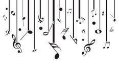 Vitmusik noterar med fodrar Arkivfoton