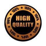 Högkvalitativa 100 procentsatser i guld- svart cirklar etiketten royaltyfri illustrationer