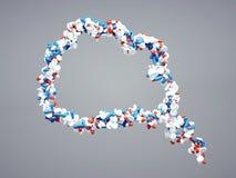 högkvalitativa preventivpillerar som 3d tänker bubblasymbol Royaltyfria Bilder