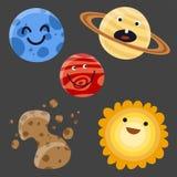 Högkvalitativa solsystemutrymmeplaneter sänker illustrationen för vektorn för stjärnan för vetenskap för universumastronomigalaxe Royaltyfria Bilder