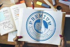 Högkvalitativt garantiemblem Logo Premium Concept Arkivbilder
