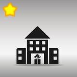 Högkvalitativt svart begrepp för symbol för logo för knapp för symbol för skolabyggnad Royaltyfri Bild