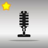Högkvalitativt svart begrepp för symbol för logo för mikrofonsymbolsknapp Royaltyfri Illustrationer