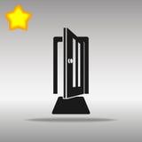Högkvalitativt svart för symbolsknapp för öppen dörr begrepp för symbol för logo Arkivbilder