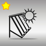 Högkvalitativt svart sol- begrepp för symbol för logo för knapp för symbol för varmvattensystem Royaltyfri Fotografi