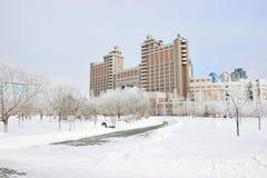 Högkvarter av olja företaget KazMunaiGaz i Astana Royaltyfri Bild