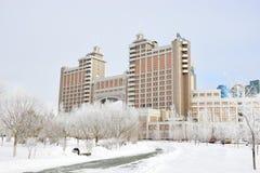 Högkvarter av olja företaget KazMunaiGaz i Astana Royaltyfri Foto