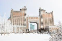 Högkvarter av olja företaget KazMunaiGaz i Astana Royaltyfria Foton