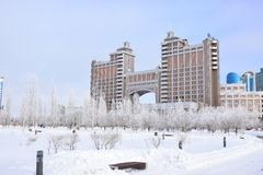 Högkvarter av olja företaget KazMunaiGaz i Astana Arkivfoto