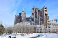 Högkvarter av olja företaget KazMunaiGaz i Astana Arkivbilder