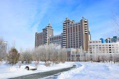 Högkvarter av olja företaget KazMunaiGaz i Astana Royaltyfria Bilder