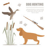 högland för jakt för lek för fågelhundepisod Plan stil vektor illustrationer