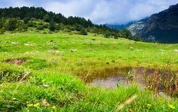 Höglands- äng med sjön pyrenees Royaltyfri Foto