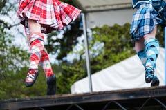 Höglands- dansare på höglandlekar i Skottland royaltyfri fotografi